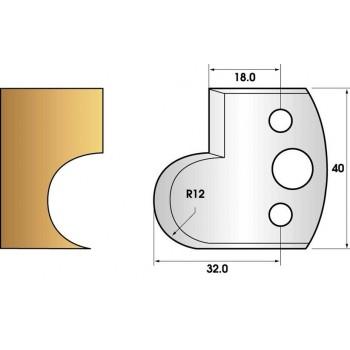 Paire de fers de toupie hauteur 40 n° 58 - gorge rayon 12mm