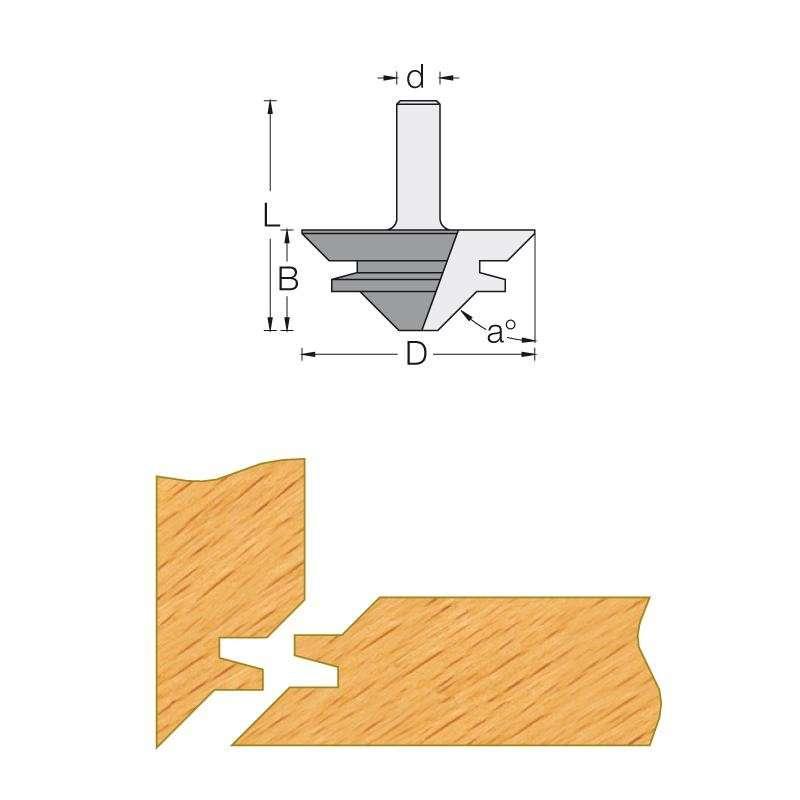 fraise pour bouvetage d 39 angle 45 pour d fonceuse queue 8 mm. Black Bedroom Furniture Sets. Home Design Ideas