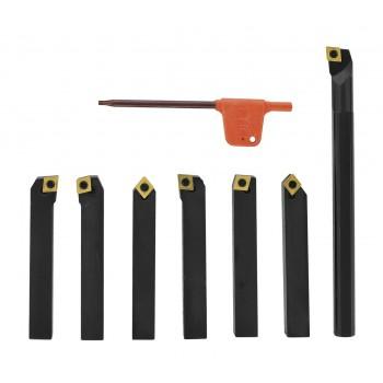 Outils de tournage à plaquettes carbure en queue de 8 mm pour tour à métaux (7 pièces)