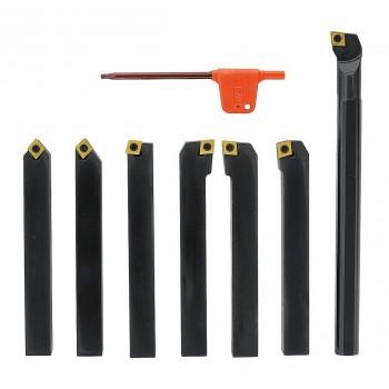 Outils de tournage à plaquettes carbure queue de 12 mm avec outil à aléser pour tour à métaux (7 pièces)