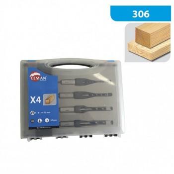 Caja de 4 cerraduras de embutir y cinceles, dia 6-8-10-12 mm mango 15.9 mm