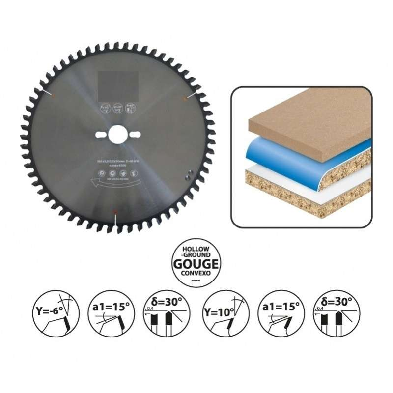 Hartmetal Format-Kreissägeblätter 220 mm - 42 Hohlzahn Dachflach