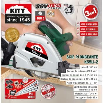 Scie circulaire plongeante sans fil Kity K55li avec 2 rails et 2 batteries lithium !