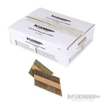 Clavos anillados galvanizados de 75 mm para Clavadora neumática 90 mm - 2500 piezas