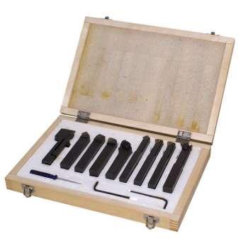 Outils de tournage à plaquettes carbure queue de 10 mm pour tour à métaux (9 pièces)