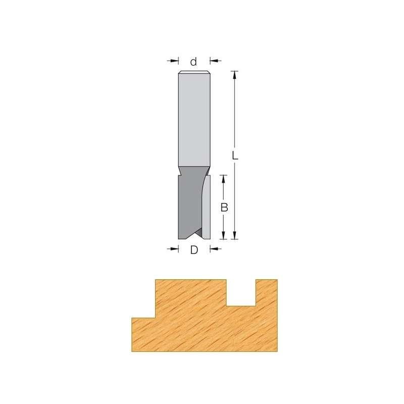 Straight router bit Ø 16 mm long serie - shank 8 mm