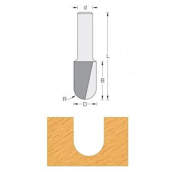 Fresa a raggio convesso 8 mm - Coda 12 mm