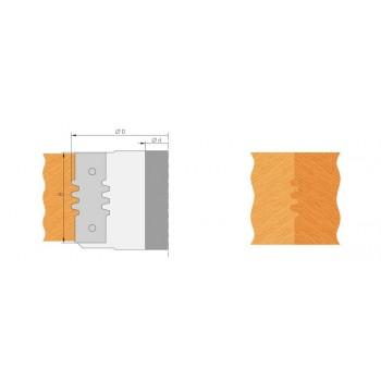 Testa portacoltelli per giunzioni trapezoidale altezza 50 mm per toupie 30 mm