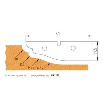 Jeu de 2 plaquettes carbure profilees n° 1130 pour plate-bandes alesage 50