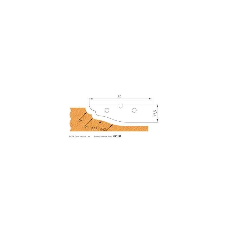 Jeu de 2 plaquettes carbure profilees n° 1130