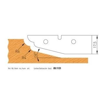 Jeu de 2 plaquettes carbure profilees n° 1131 pour plate-bandes alesage 50