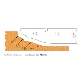 Jeu de 2 plaquettes carbure profilees n° 1132 pour plate-bandes alesage 50