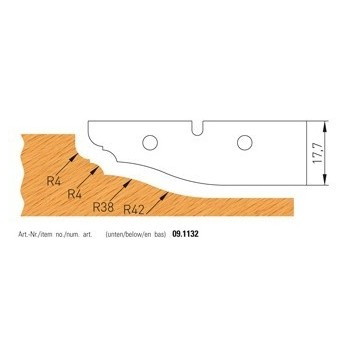 TC profile Knives for panel raising cutter shaft 50 mm - n° 1132
