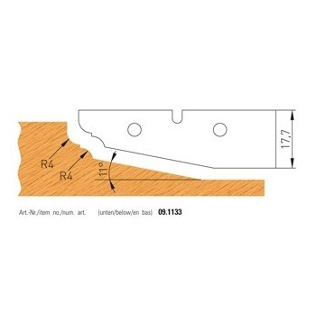 TC profile Knives for panel raising cutter shaft 50 mm - n° 1133