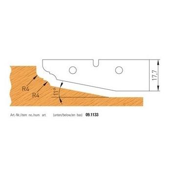 Jeu de 2 plaquettes carbure profilees n° 1133 pour plate-bandes alesage 50
