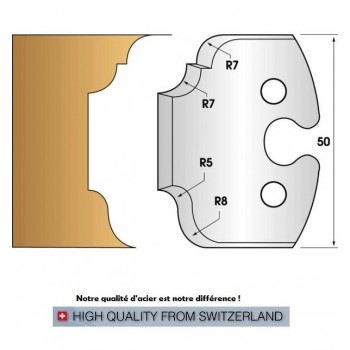 Paire de fers de toupie hauteur 50 mm n° 207 - moulures multiples