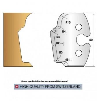 Paire de fers de toupie hauteur 50 mm n° 208 - moulures multiples