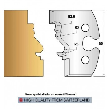 Paire de fers de toupie hauteur 50 mm n° 213 - moulure 2 Louis XV