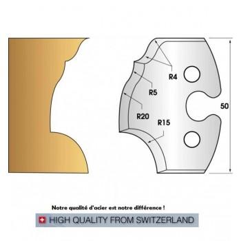 Paire de fers de toupie hauteur 50 mm n° 223 - congé et doucine