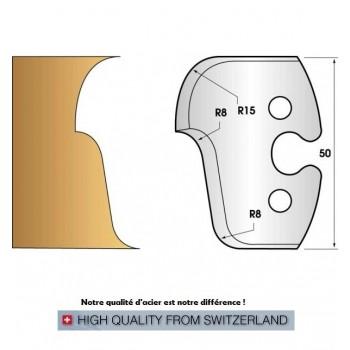 Paire de fers de toupie hauteur 50 mm n° 224 - quart de rond et doucine