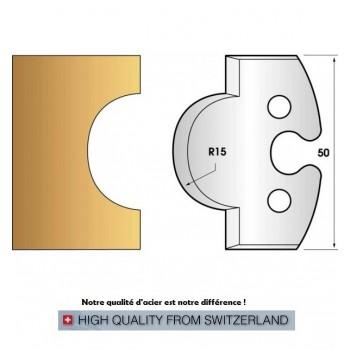 Paire de fers de toupie hauteur 50 mm n° 226 - gueule de loup rayon 25mm