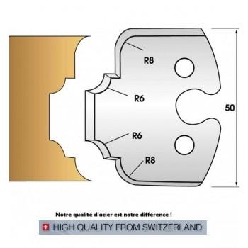 Paire de fers de toupie hauteur 50 mm n° 236 - congé et quart de rond