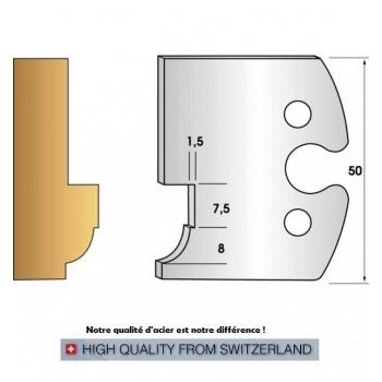 Paire de fers de toupie hauteur 50 mm n° 261 - quart de rond et feuillure