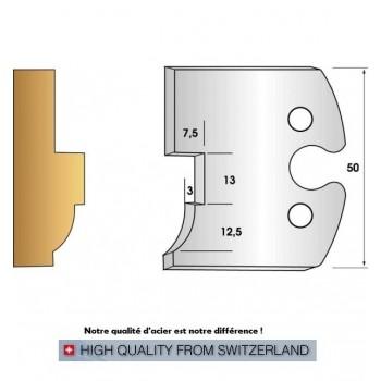 Paire de fers de toupie hauteur 50 mm n° 263 - moulure et feuillure