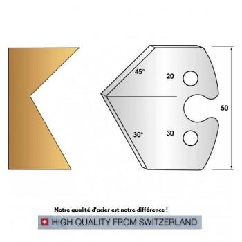 Paire de fers de toupie hauteur 50 mm n° 272 - chanfrein 30° et 45°