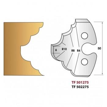 Paire de fers de toupie hauteur 50 mm n° 275 - congé et quart de rond multiples