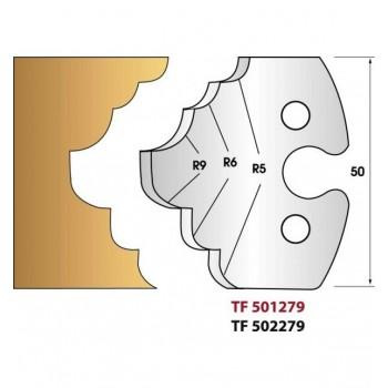 Paire de fers de toupie hauteur 50 mm n° 279 - quart de rond et congés multiples