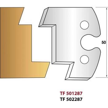 Paire de fers de toupie hauteur 50 mm n° 287 - Calibrage extérieur pente 20°