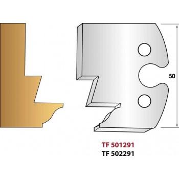 Paire de fers de toupie hauteur 50 mm n° 291 - Profilage embrevé profil doucine ouvrant