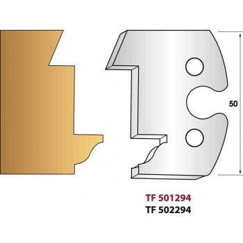 Paire de fers de toupie hauteur 50 mm n° 294 - Calibrage extérieur profil doucine