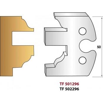 Paire de fers de toupie hauteur 50 mm n° 296 - Profilage intérieur ouvrant profil doucine