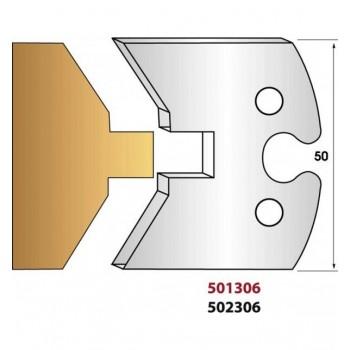 Paire de fers de toupie hauteur 50 mm n° 304 - bardage rainure