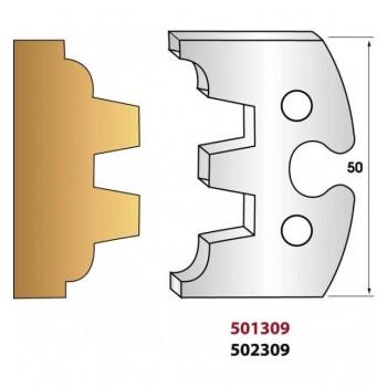 Paire de fers de toupie hauteur 50 mm n° 309 - madrier double languette