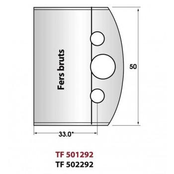 Jeu de 2 fers droits bruts pour le profilage hauteur 50 mm
