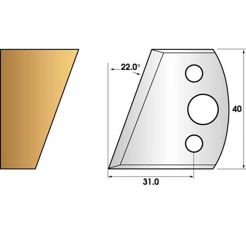 Paire de fers de toupie hauteur 40 n° 01 - Chanfrein 22°