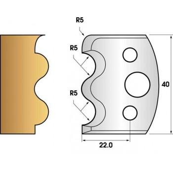 Paire de fers de toupie hauteur 40 n° 06 - Baguette