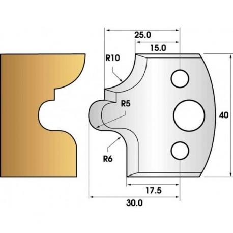 Paire de fers de toupie hauteur 40 n° 12 - Congé à gorge