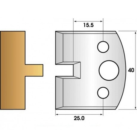 Paire de fers de toupie hauteur 40 n° 17 - languette 6mm