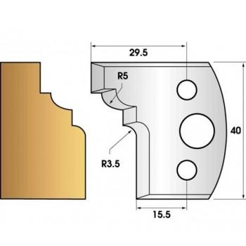 Paire de fers de toupie hauteur 40 n° 20 - quart de rond doucine