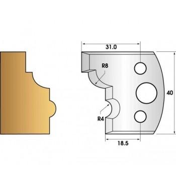 Paire de fers de toupie hauteur 40 n° 24 - 1/4 de rond et boudin