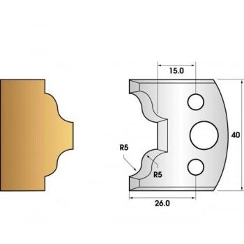 Paire de fers de toupie hauteur 40 n° 25 - petits bois doucine