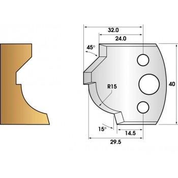 Paire de fers de toupie hauteur 40 n° 37 - rayon et chanfrein