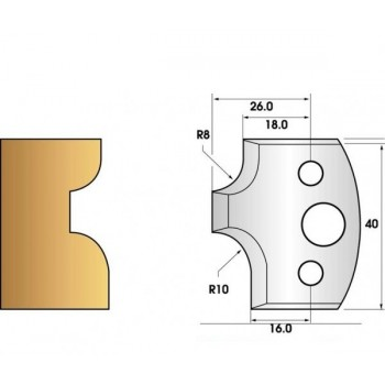 Paire de fers de toupie hauteur 40 n° 40 - 1/4 de rond 8mm et 10mm