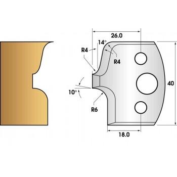 Paire de fers de toupie hauteur 40 n° 41 - rayon 6mm et moulure