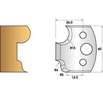 Paire de fers de toupie hauteur 40 n° 43 - congé rayon 15mm et doucine