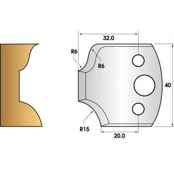 Paire de fers de toupie hauteur 40 n° 44 - congé rayon 15mm et doucine 6mm